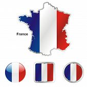 flag of France in map and web buttons shapes