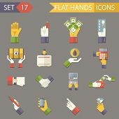 Retro Business Hands Symbols Finance Accessories Icons Set Trendy Modern Flat Design Template Vector