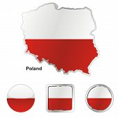 flag of Poland in map and web buttons shapes