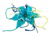 pic of glass-wool  - a Marine blue flower made from wool - JPG