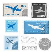 Set of postal mark, stamps.  icon. Illustration.