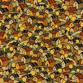 autumn houses seamless pattern