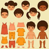kids face, paper doll