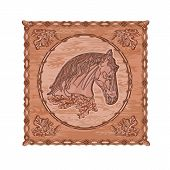 Horse And Oak Woodcarving Vintage Vector.