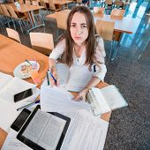 picture of canteen  - Girl studying hard at the University canteen - JPG