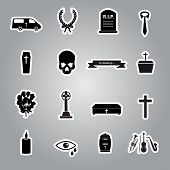 stock photo of hearse  - 16 various black icons funeral stickers set - JPG