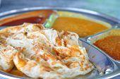 Roti Canai Flat Bread, Indian Food, Made From Wheat Flour Dough. Famous Malaysian Dish, Roti Canai A
