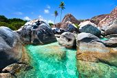Постер, плакат: The Baths beach area major tourist attraction at Virgin Gorda British Virgin Islands with turquoise