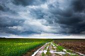 Rural Road And Moody Skies