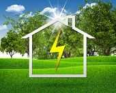Symbol of electricity and house