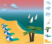 Illustration Of Geometric Sea Exotic Coast Landscape