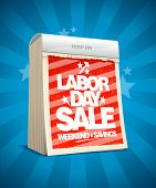 Labor day sale design in form of tear-off calendar. Eps10