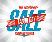 picture of labor  - Labor day savings sale retro style design - JPG