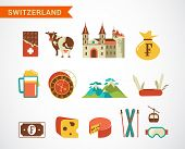 Switzerland - vector icons, travel and tourism concept illustration