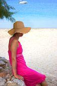 Beautiful  Woman  By The Beach In Greece