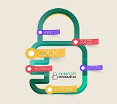 Vector lock icon infographic concept. Modern flat line art icon design with cloud tags on transparent stickers