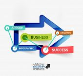 Arrow infographic flat line concept - modern flat line art with sticky notes and keywords