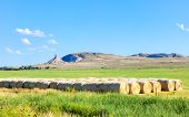 stock photo of nebraska  - Field and Chimney Rock monument in Nebraska - JPG