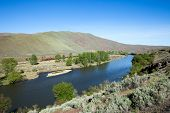 stock photo of yakima  - Train winding through Yakima Valley - JPG