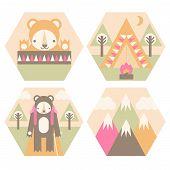 foto of sleeping bag  - A set of camping badges including hiking - JPG