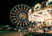 image of carousel horse  - lights at the carousel - JPG