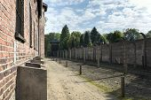 House Block In Concentration Camp In Auschwitz, Poland.