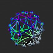 Buckyball C60 and graphene sheet, computer artwork