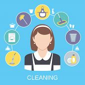 stock photo of solid  - Cleaning household service maid icons composition with dish detergent vacuum cleaner abstract solid isolated vector illustration - JPG