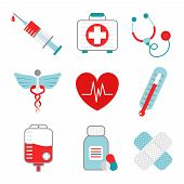 picture of accident emergency  - Decorative medical emergency first aid kit symbols pictograms collection with injection syringe abstract flat isolated vector illustration - JPG