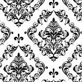 floral seamless damask vector background