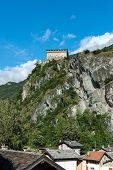 image of promontory  - Verres Castle on a rocky promontory Aosta Valley  - JPG