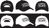 Baseball cap, front, back and side view. Vector