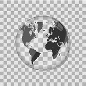 World map glass globe vector illustration