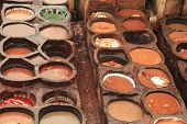 Morocco Tannery in Fez or Fes with Dye Pits