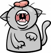 Cat Yawn Or Meow Cartoon Illustration