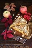 Apple Pie, Colorful Leaves On An Old Wooden Surface