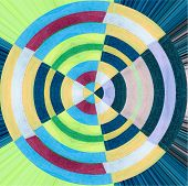 foto of quilt  - colorful abstract quilt design in a circle - JPG