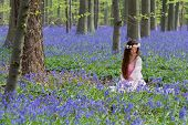 Innocent young woman with pink fairy dress in a springtime bluebells forest