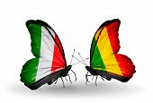Two Butterflies With Flags On Wings As Symbol Of Relations Italy And  Mali