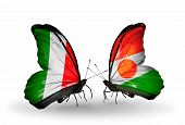 Two Butterflies With Flags On Wings As Symbol Of Relations Italy And Niger
