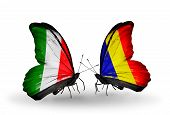 Two Butterflies With Flags On Wings As Symbol Of Relations Italy And Chad, Romania