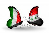 Two Butterflies With Flags On Wings As Symbol Of Relations Italy And Syria