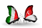 Two Butterflies With Flags On Wings As Symbol Of Relations Italy And Singapore