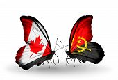 Two Butterflies With Flags On Wings As Symbol Of Relations Canada And Angola