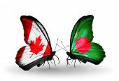 Two Butterflies With Flags On Wings As Symbol Of Relations Canada And Bangladesh