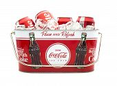 Cold Coca-cola Cans In A Coca-cola Ice Bucket