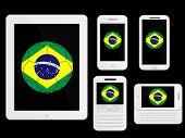 Mobile Devices With Brazil Football White