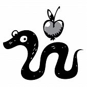 stock photo of sinful  - Snake and apple - JPG