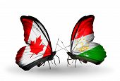 Two Butterflies With Flags On Wings As Symbol Of Relations Canada And Tajikistan