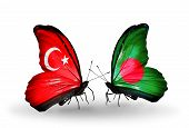 Two Butterflies With Flags On Wings As Symbol Of Relations Turkey And Bangladesh